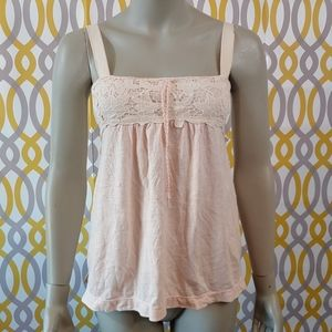 AMERICAN EAGLE Lace Pink Tank Top Size Small